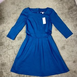 Banana Republic Teal Blue Fit Flare Pleated Dress